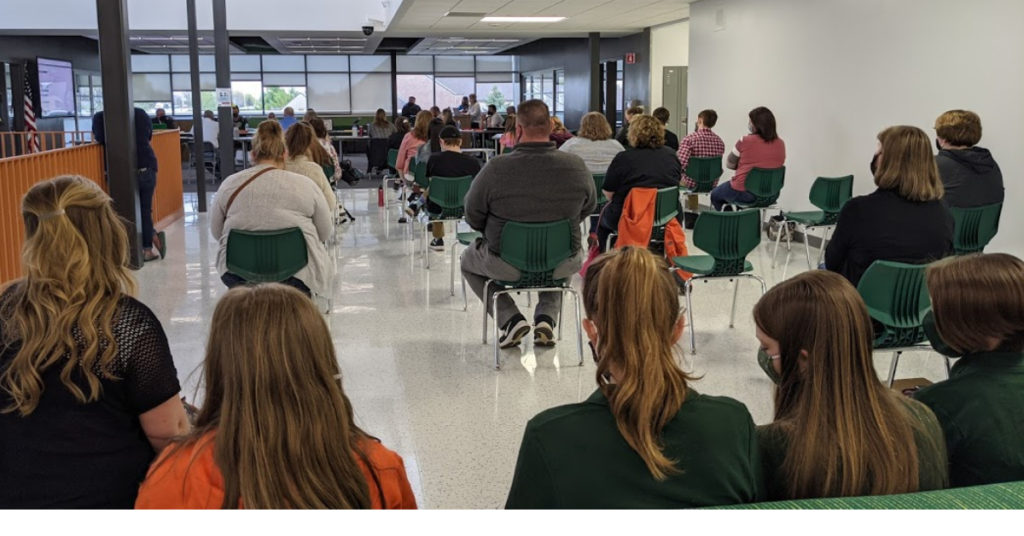 Concerned citizens at the April 26, 2021 Waterford Graded school board meeting